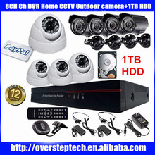 8CH Channel DVR Home CCTV Outdoor Security Surveillance Camera System 1TB HDD