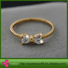 New Arrival Crystal Diamond rings Gold Plated finger Bow ring wedding engagement Zircon Crystal Rings