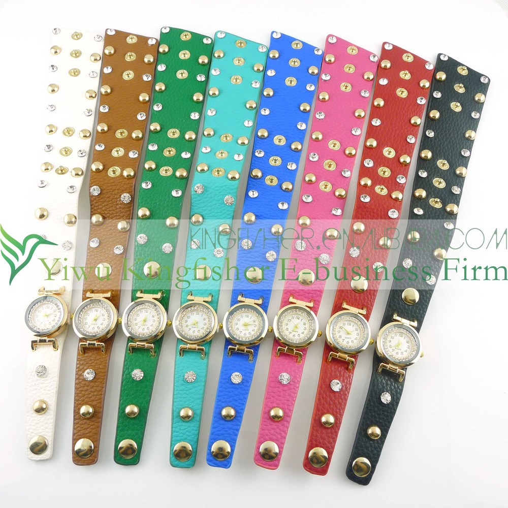 2014 Fashion vintage retro braided twist leather lady watch!! Antique rock rivet twist leather vogue watch quartz lady watch!!