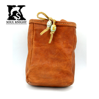 Genuine real Leather Brown Fashion vintage cow leather Waist Pack bag