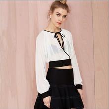 Nouveau printemps / été 2015 à manches longues en mousseline de soie blouse modèles de transparent blouses