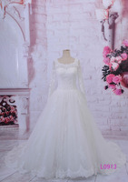 princess long sleeves puffy corset back french lace beaded A-line wedding dresses 2016 L0913