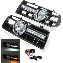 Front Bumper Grille Driving Fog Lamp Light Set With LED for 1997-2006 VW GOLF4 MK4