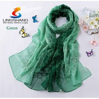 Lingshang spring and autumn embroidery silk scarf women's gradient color scarves&wraps