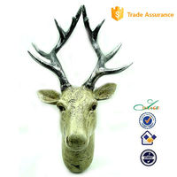 custom deer moose head wall decoration resin Water Transfer printing crafts