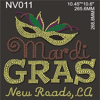 Mardi Gras New Roads hotfix iron on rhinestone transfers