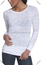 2015 custom wholesale blank Women's Long Sleeve Burnout Raglan Crew neck t shirts wholesale