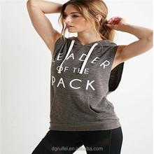 Wholesale womens sleeveless fleece letters hooded tops sports t shirt 2015