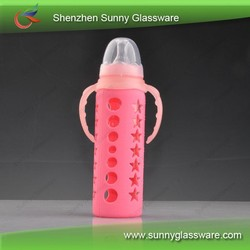 Glass baby feeding bottle with start design silicone sleeve