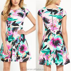 Oem service new design cap sleeve custom floral print skater dress for women