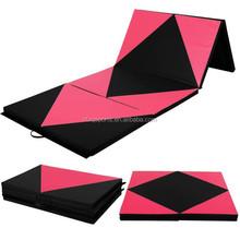 "Pink/Black 4'x8'x2"" Thick Folding Gymnastics Mat Gym Fitness Exercise"