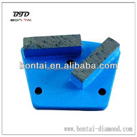 Trapezoid 3 holes concrete floor grinding tool metal pad with 2 rectangle segments grits 30-150