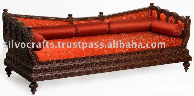 Royal indian rajasthani jodhpur hand carved teak wooden for Vintage divan sofa