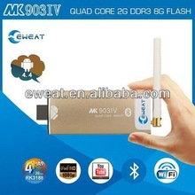 Hot-selling RK 3188 quad core Android4.4.2 tv stick ARM Cortex A9 2G DDR3 8G/16G Nand flash TV Dongle