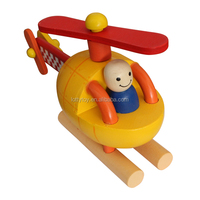 Coloured playful wooden toy plane