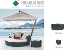 2015 hot sale Outdoor Garden rattan furniture with umbrella rattan chaise lounge/wicker sun lounger Item No FWB-110