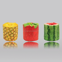 Printed toilet tissue with fruit design in roll