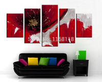 5 piece decor art set modern wall art Flowers Rose Abstract hand painted Oil Painting on Canvas for living room decoration