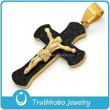 Matte with 18K Gold Metal Hot Men's Jesus Sideway Heavy Crucifix Pendant Jewelry Religious Cross
