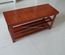 2 Tiers Wooden Shoe Bench Rack in Walnut Color finish bamboo changeing shoes rack beautiful new wooden shoe bench