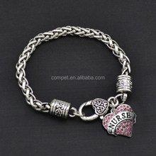 Wholesale Rhinestone Heart Bracelets with Nurse Text