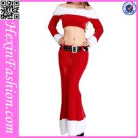 Red Christmas Dance Costume with White Fur Top