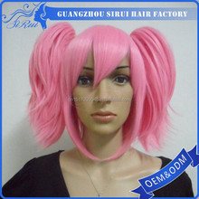 2015 Popular light color cosplay long curly hair, cosplay lolita, cosplay light pink hair wig