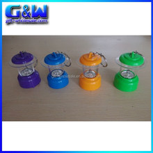 Cheap Wholesale Mixed 4 Colors Plastic LED lantern keychains for Promotinal Gifts