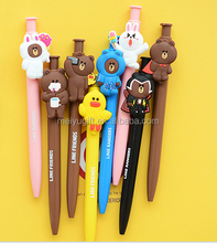 wholesale lovely 2D animal shaped plastic cartoon character pen