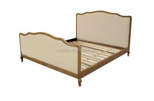 USA style wood carved double bed with slat