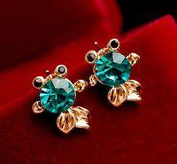 RS-ZN0746 fashion gold plated Goldfish Earrings cute Fish stud earrings cheap wholesale rhinestone stud earrings