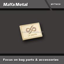 custom fashion rose gold zinc alloyl metal brand logo for jeans