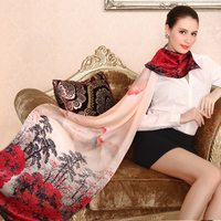 traditional chinese painting fashion manufacturer silk scarf