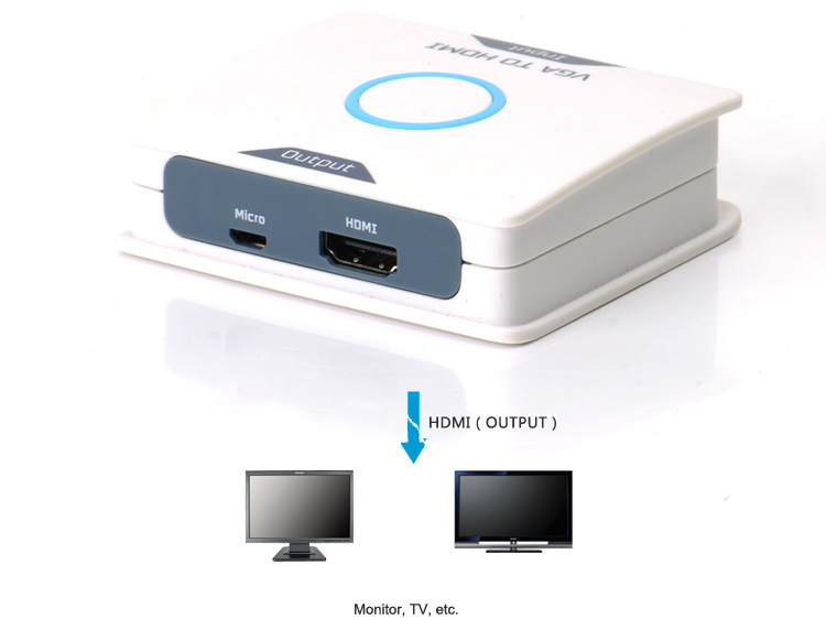 Vention white high quality vga to hdmi converter with RCA Audio Cable