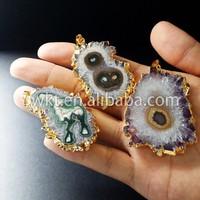 New! Natural precious slice stalactite pendants, Amazing unique amethyst stalactite solar pendants WT-P039