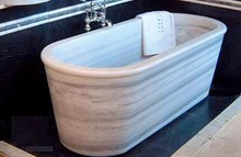 Supply Competitive Price Oval Wooden Vein Marble Bathtub for Sale