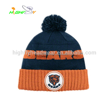 maufacture Football fans acrylic knitted hat Custom embroider knitted beanie, winter sports beanie