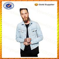 Custom 100% Cotton Men's Denim Jackets/Baby Blue Denim Man Jacket