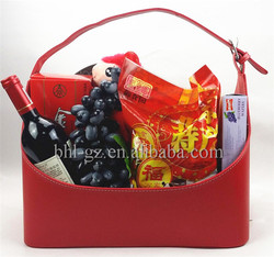 Handcrafted PU leather picnic wine basket wedding gift fruit basket decoration leatherette fruit and vegetable storage box L31