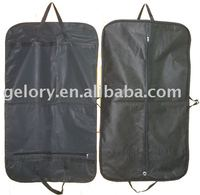 black non-woven cover suit garment bag with handle outside pocket