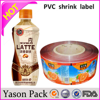Yason pvc shrink ice cream sleeves water bottle shrink lable printing/express bag with pocket clear heat shrink film