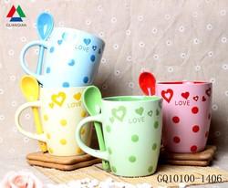 Personalized hands paint coffee mug heart shape dot pattern for sale