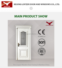 interior solid wooden doors oak make glass insert made in china