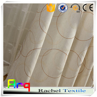 Geomery design white polyester cotton embroidery curtain fabric in livingroom window curtain