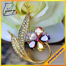 5 colored zircon handmade beautiful flower orchid brooch for dresses