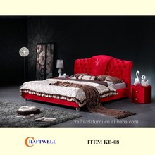 hot selling luxury red flannelet tufted antique fabric king bed designs