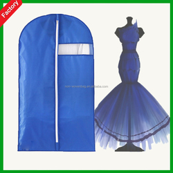 Hot sale High quality Custom blue color Foldable Wholesale non woven garment suit bags for packaging use with PVC window