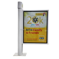 Flag unipole stainless steel rectangle free standing backlit billboard for outdoor advertising