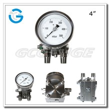 """Special differential pressure gauge with 4"""" diameter bottom connection for low pressure"""
