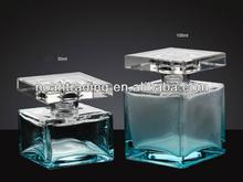 50ml -100ml green square glass perfume bottle, empty perfume bottle, square pink glass perfume bottle